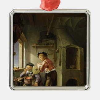 An Alchemist and his Assistant in their Workshop Metal Ornament