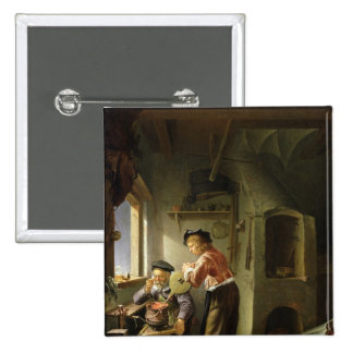 An Alchemist and his Assistant in their Workshop Pinback Button