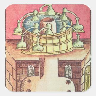 An alchemist's water-bath or bain-marie square sticker