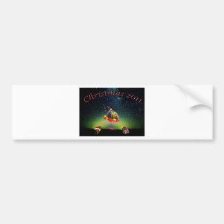An Alien and Wienerdog Christmas Car Bumper Sticker