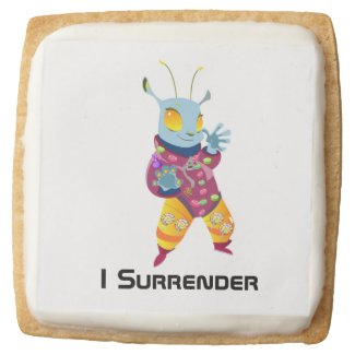 An Alien Made of Candy Square Shortbread Cookie