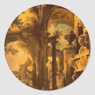 An Allegorical Painting of the Tomb of Lord Somers Classic Round Sticker
