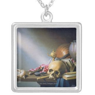 An Allegory of the Vanities of Human Life Silver Plated Necklace