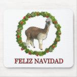 An alpaca Feliz Navidad Christmas Wreath Mouse Pad