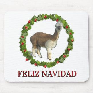 An alpaca Feliz Navidad Christmas Wreath Mouse Pads