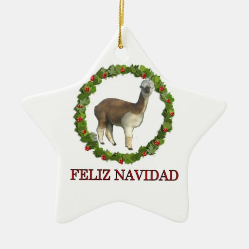 An alpaca Feliz Navidad Christmas Wreath Ornament