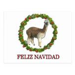 An alpaca Feliz Navidad Christmas Wreath Postcard
