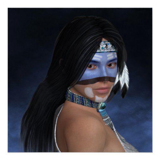 An American Blue Portrait Poster