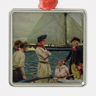 An American Privateer Taking a British Prize Metal Ornament