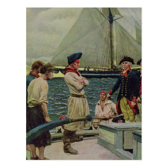 An American Privateer Taking a British Prize Postcard