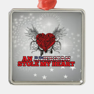An American Stole my Heart Square Metal Christmas Ornament