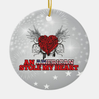 An American Stole my Heart Double-Sided Ceramic Round Christmas Ornament