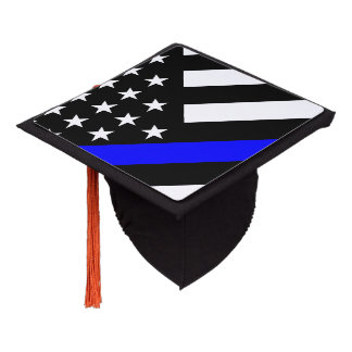 An American Thin Blue Line Display Graduation Cap Topper