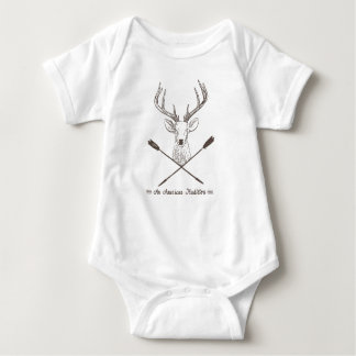 An American Tradition: Deer Head Wood Bow Hunting Baby Bodysuit