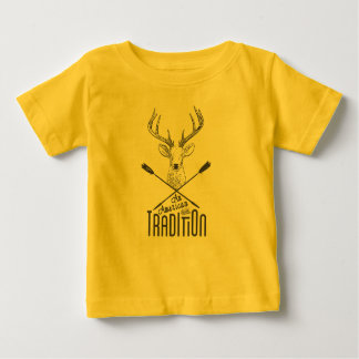 An American Tradition: Deer Head Wood Bow Hunting Baby T-Shirt
