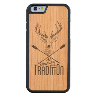 An American Tradition: Deer Head Wood Bow Hunting Carved Cherry iPhone 6 Bumper Case