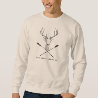 An American Tradition: Deer Head Wood Bow Hunting Pullover Sweatshirt