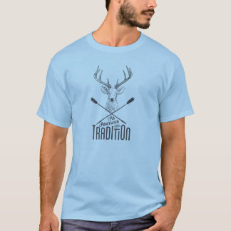 An American Tradition: Deer Head Wood Bow Hunting T-Shirt