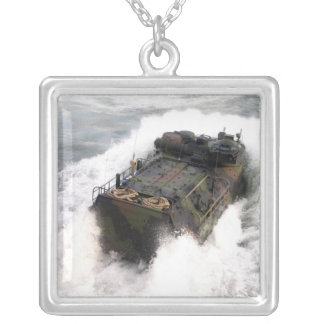 An amphibious assault vehicle 2 silver plated necklace