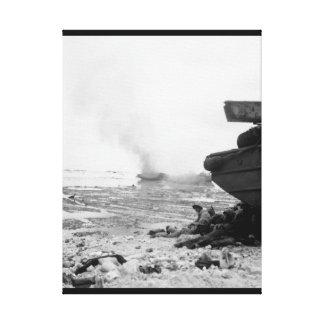 An amphibious tractor burns on_War Image Canvas Print