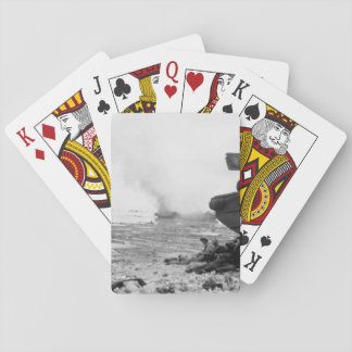 An amphibious tractor burns on_War Image Playing Cards