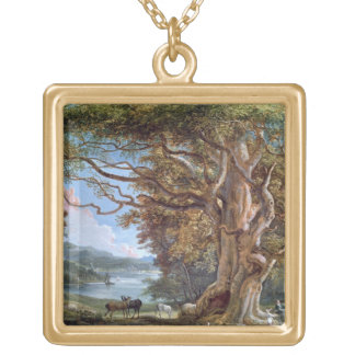 An Ancient Beech Tree, 1794 (oil on canvas) Square Pendant Necklace