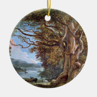 An Ancient Beech Tree, 1794 (oil on canvas) Double-Sided Ceramic Round Christmas Ornament