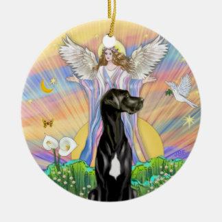 An Angel Blessing- Black Great Dane (Natural ears) Ceramic Ornament