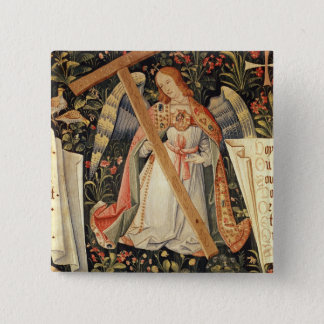 An angel carrying the cross pinback button