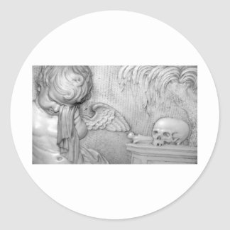 An Angel Cries Over A Skull Classic Round Sticker