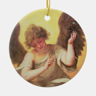 An Angel holding a Glass Flask Ceramic Ornament