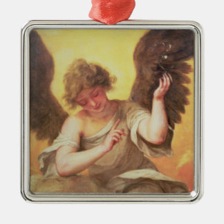 An Angel holding a Glass Flask Metal Ornament