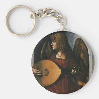 An Angel in Red with a Lute by Leonardo da Vinci Basic Round Button Keychain