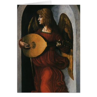 An Angel in Red with a Lute by Leonardo da Vinci Card