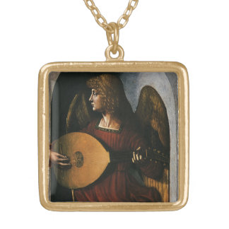 An Angel in Red with a Lute by Leonardo da Vinci Gold Plated Necklace