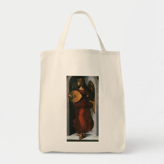 An Angel in Red with a Lute by Leonardo da Vinci Grocery Tote Bag