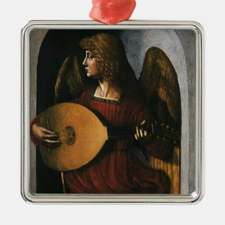An Angel in Red with a Lute by Leonardo da Vinci Metal Ornament