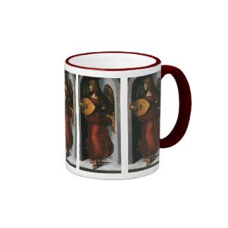 An Angel in Red with a Lute by Leonardo da Vinci Ringer Coffee Mug