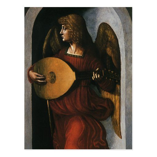 An Angel in Red with a Lute by Leonardo da Vinci Postcard