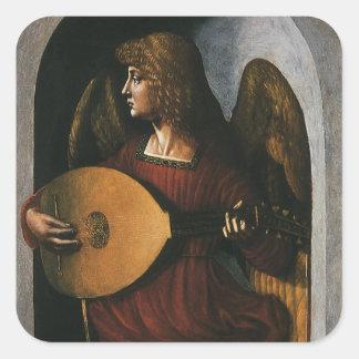 An Angel in Red with a Lute by Leonardo da Vinci Square Sticker