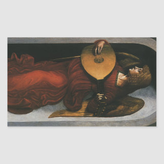 An Angel in Red with a Lute by Leonardo da Vinci Rectangular Stickers