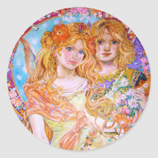 An angel in the spring and lovers. classic round sticker