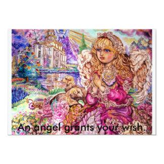 An angel of praying., An angel grants your wish. Card