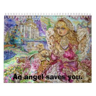 An angel of praying., An angel saves you. Calendar