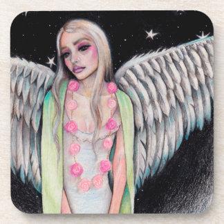 An Angel Original Art Illustration Kim Turner Art Beverage Coaster