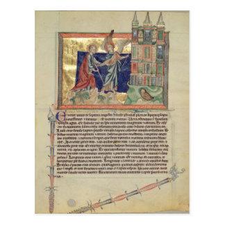 An angel showing the New Jerusalem Postcard