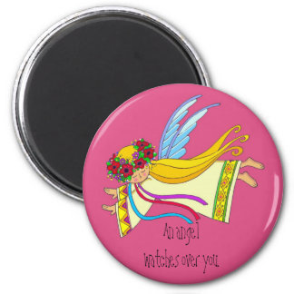 An Angel Watches Over You 2 Inch Round Magnet