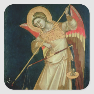 An Angel Weighing a Soul, c.1348-55 Square Sticker