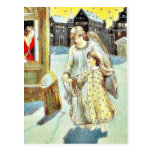 An angel with a girl walking on a street postcard