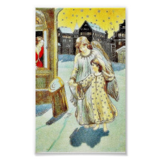 An angel with a girl walking on a street poster